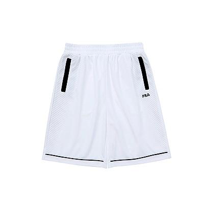 FILA KIDS 男童吸濕排汗短褲-白 1SHS-4332-WT