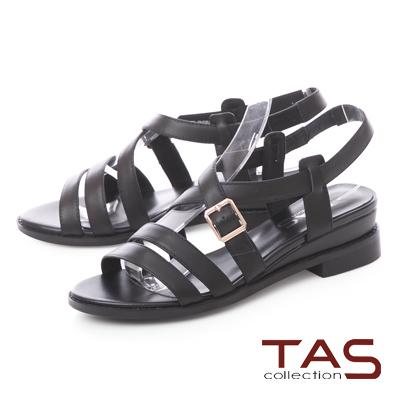 TAS交叉雙繫帶金屬飾扣內增高涼鞋-百搭黑