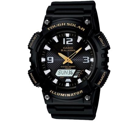 CASIO 新一代光動遊俠雙顯運動錶(AQ-S810W-1B)-黑x金指針/52mm