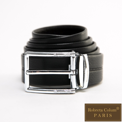 Roberta Colum - 鄰家紳士金屬波紋款真皮皮帶-銀