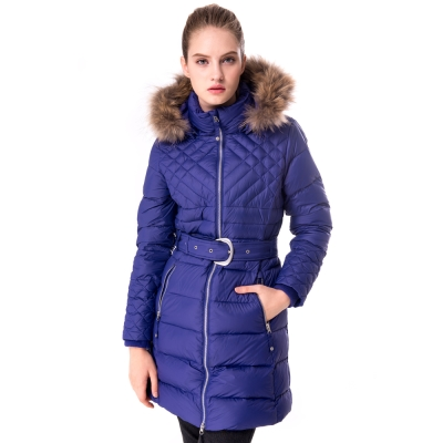 【hilltop山頂鳥】女款超撥水保暖蓄熱羽絨長大衣F21F71紫