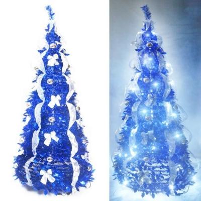 6尺(180cm) 浪漫彈簧摺疊聖誕樹(銀藍色系)(內含一LED100燈串)
