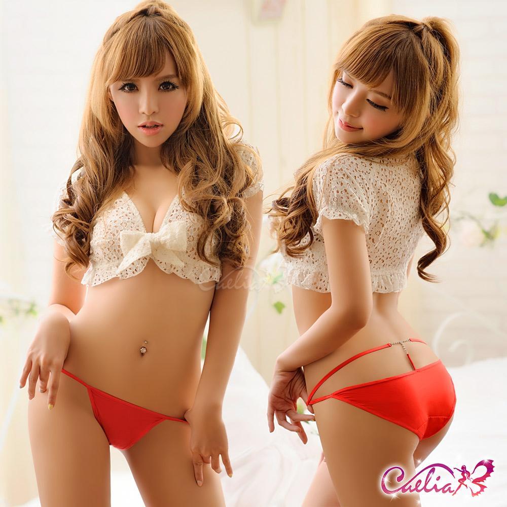 內褲 水鑽誘人內褲(紅) Caelia