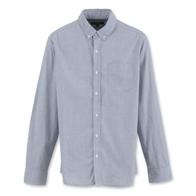 Hang Ten - 男裝 - 都會格紋長袖襯衫-深藍