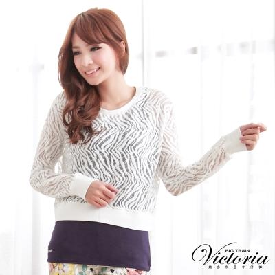 Victoria 棉絨燒花外罩T-女-白色