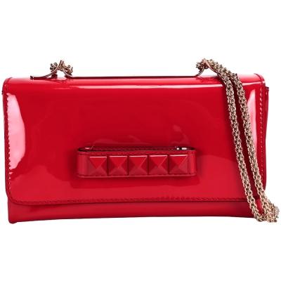 VALENTINO CHAIN 鉚釘肩背/手拿晚宴包(紅色)