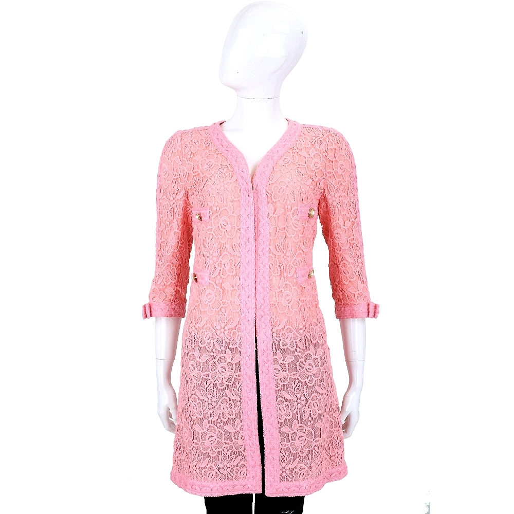 EDWARD ACHOUR PARIS 粉色織花七分袖長版外套