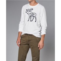 A&F 經典刺繡麋鹿長袖T恤-白色 AF Abercrombie