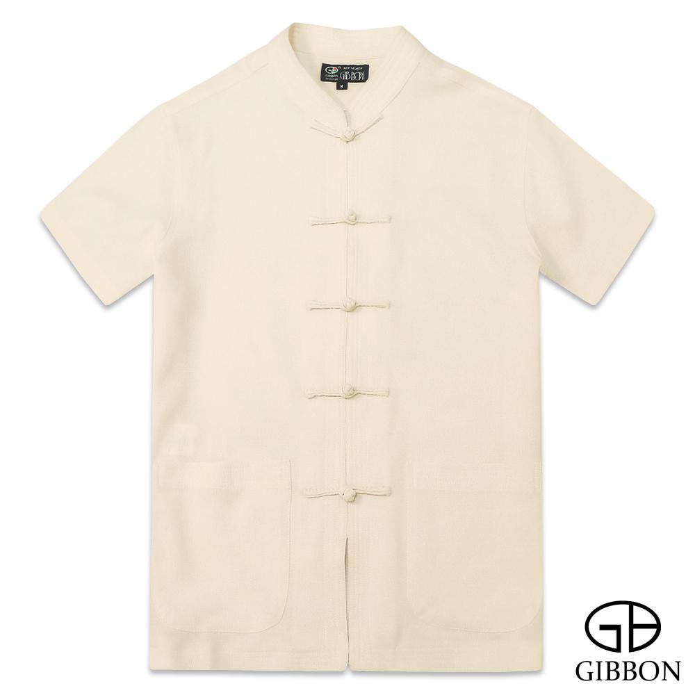 GIBBON 麻紗感涼夏透氣短袖唐裝‧淺橙M~3L