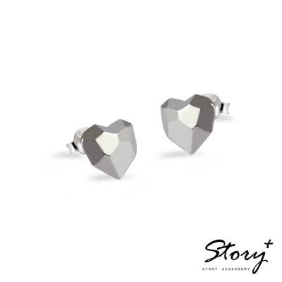 STORY故事銀飾-鑽石愛心 925純銀耳環