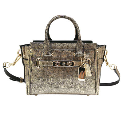 COACH-前飾雙旋釦金屬感皮革手提-斜背兩用包