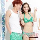 花漾美姬‧舞動浪花*情侶泳衣(For_Lady)金花罩三件式鋼圈泳衣(綠)