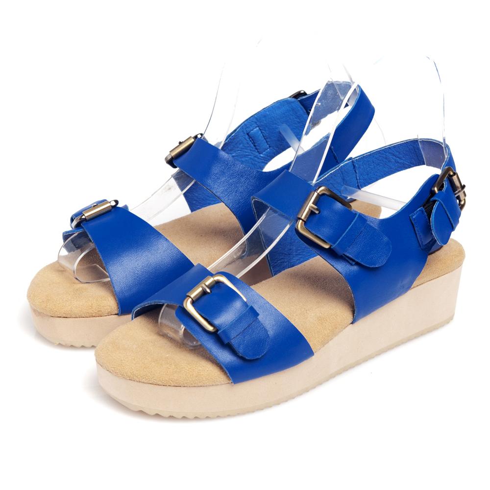 G.Ms.韓系經典皮帶釦牛皮鬆糕厚底涼鞋-寶藍