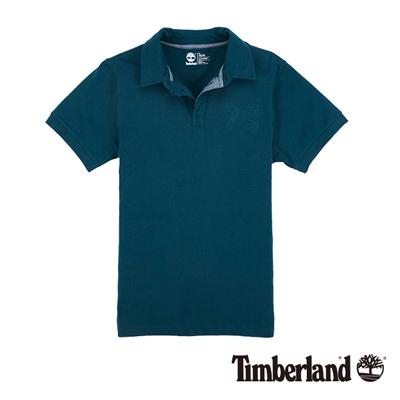Timberland-男款藍綠色立體浮雕字母短袖P