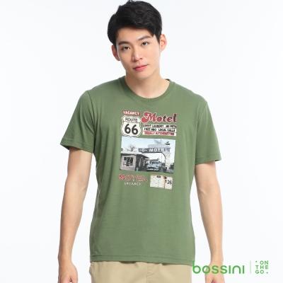 bossini男裝-印花短袖T恤55草綠