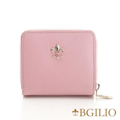 義大利Bgilio亮麗時尚十字紋牛皮短夾-粉紅色1736.312-14A