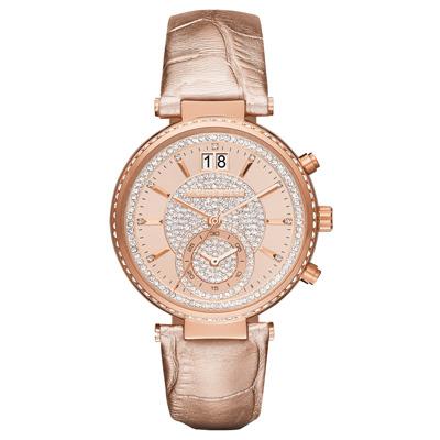 Michael Kors 懵懂高雅晶鑽計時腕錶-玫瑰金x皮帶/37mm