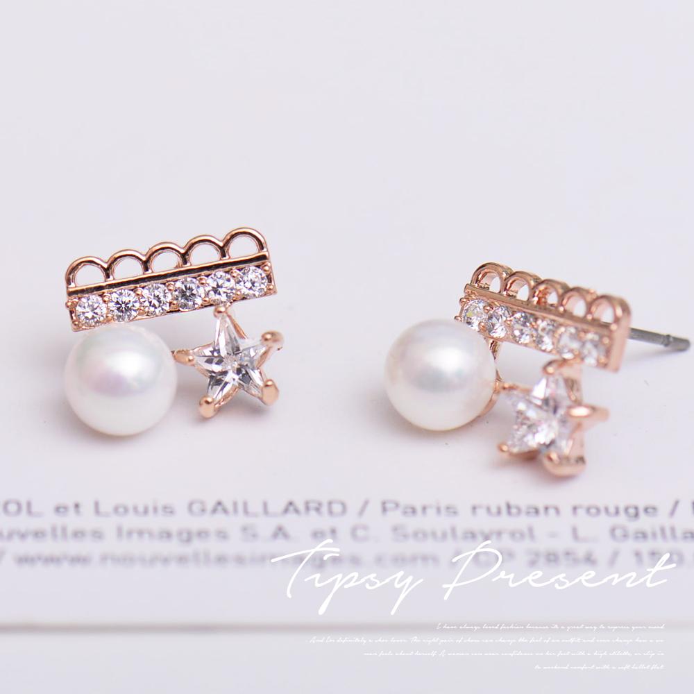 微醺禮物 鋯石 俏皮星星+珍珠 耳環