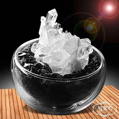 A1寶石  黑曜石聚寶盆-招財轉運白水晶簇(隨機出貨-含開光)