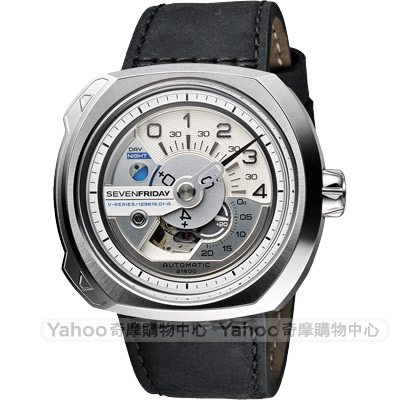 SEVENFRIDAY V1 設計師工藝自動上鍊機械錶-銀x黑/50mm