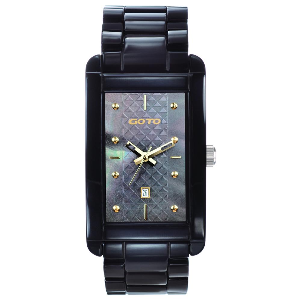 GOTO Unique 陶瓷時尚腕錶-黑x金/27.5mm