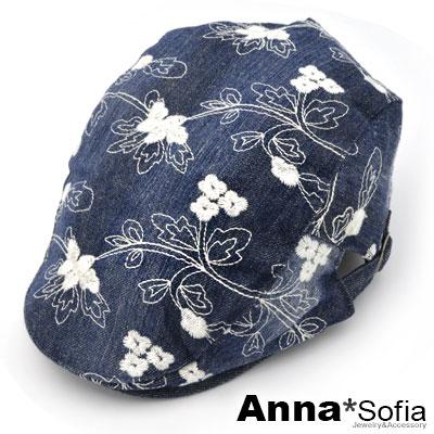 AnnaSofia-繡朵水洗牛仔-鴨舌帽小偷帽-深藍系