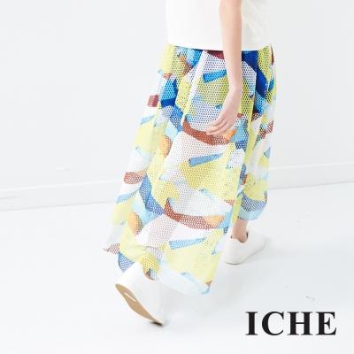 ICHE 衣哲 多色印花透視鏤空長裙