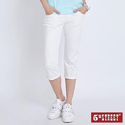 5th STREET 夏日彈性休閒七分褲-女-白色