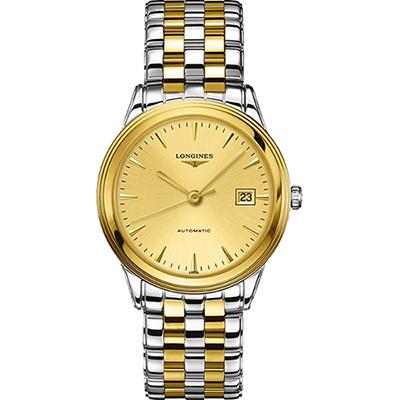 LONGINES FLAGSHIP 雅緻旗艦機械腕錶-金x雙色版/38.5mm