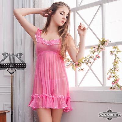 大尺碼 荷葉飾邊粉紅柔紗二件式睡衣L-2L Annabery