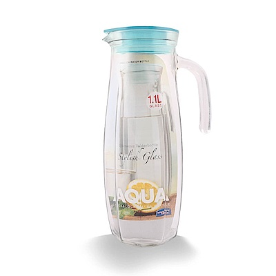 樂扣樂扣 AQUA系列沁涼玻璃水壺1.1L-薄荷藍(8H)