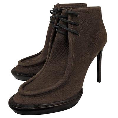 BURBERRY 皮革綁帶高跟短靴(35.5號)(咖啡色)