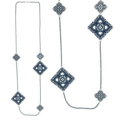 摩達客 典雅簍空方片深藍長項鍊