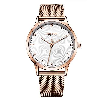 JULIUS聚利時 刻劃旅程米蘭錶帶腕錶-玫瑰金/32mm