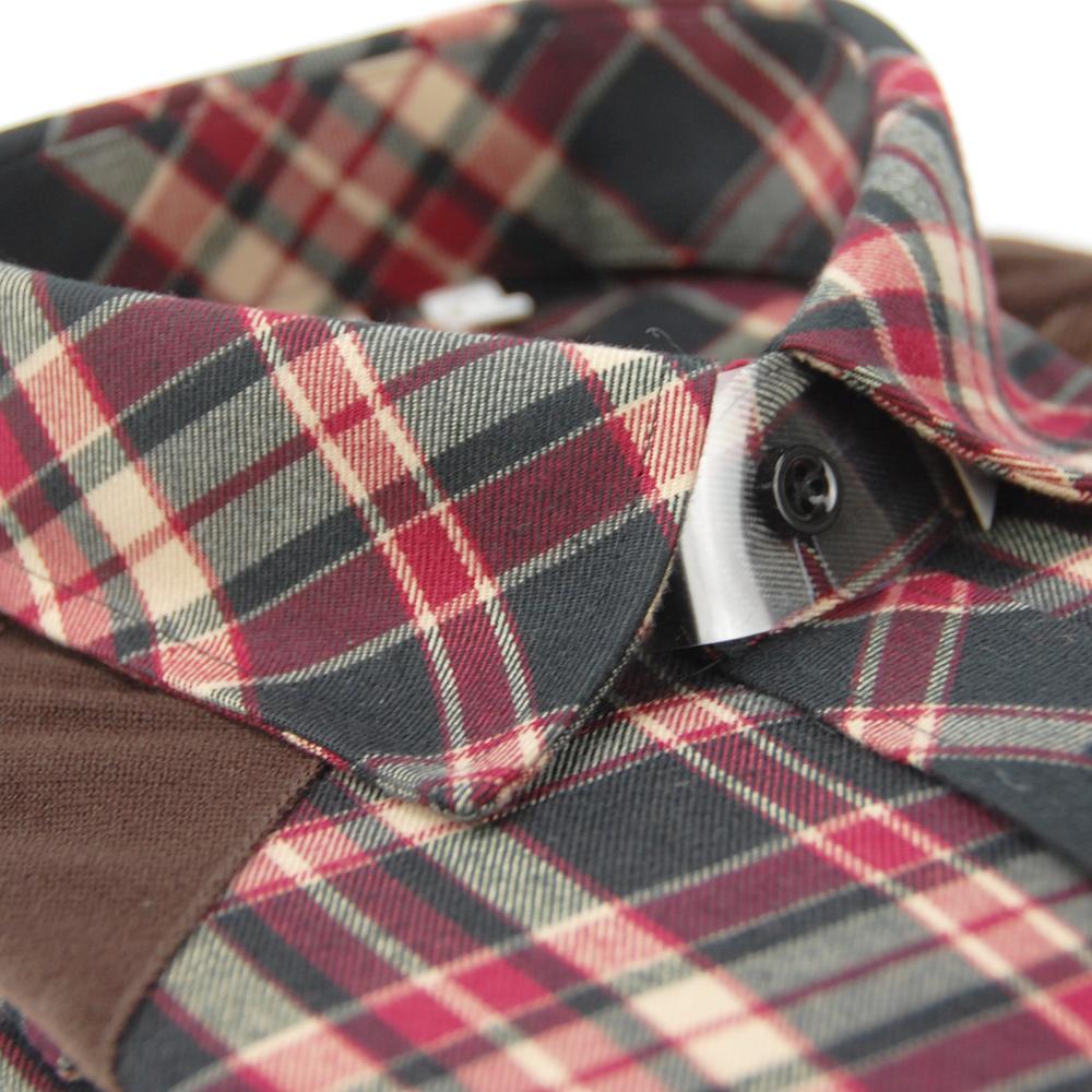 金‧安德森 拼布接肩紅色格紋窄版長袖襯衫