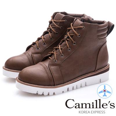 Camille's 韓國空運-正韓製-綁帶拉鍊輕量休閒風短靴-咖啡