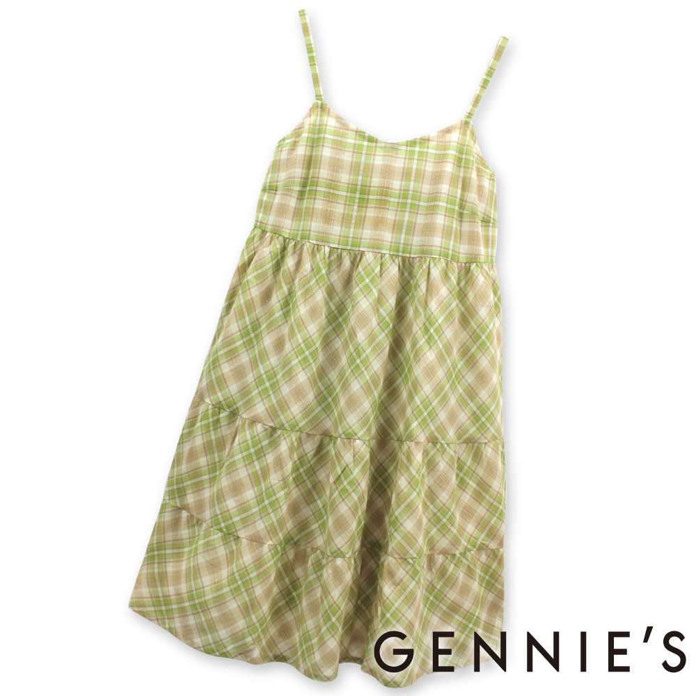 Gennies奇妮-輕甜格紋銀蔥春夏孕婦背心洋裝(G1134)