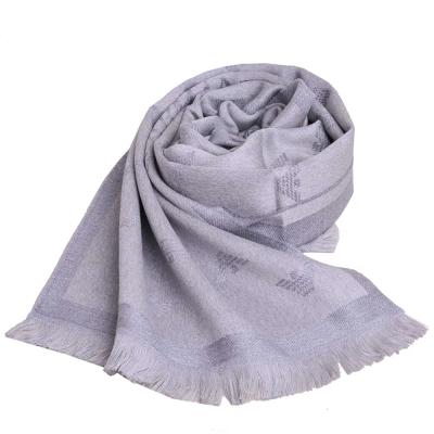 EMPORIO ARMANI 字母LOGO品牌圖騰高質感羊毛圍巾(灰)