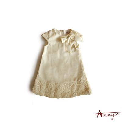 氣質蝴蝶結玫瑰裙擺洋裝*3209米白