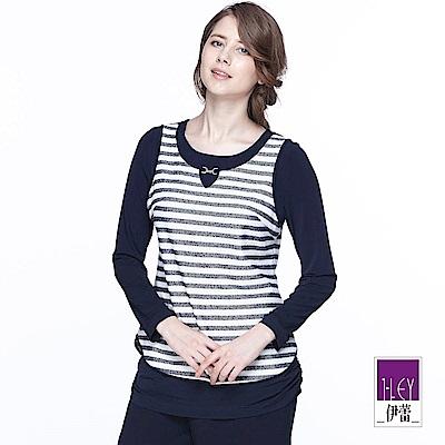 ILEY伊蕾 藍白條紋簡約上衣(藍)