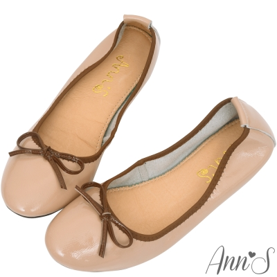 Ann'S輕膚系列-柔軟漆皮芭蕾舞真皮平底娃娃鞋-粉膚