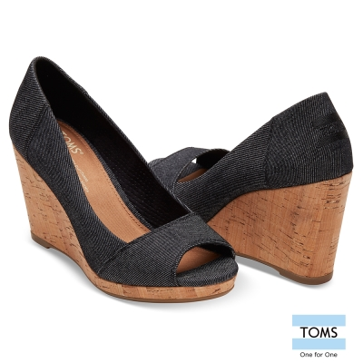 TOMS 帆布魚口楔形鞋-女款