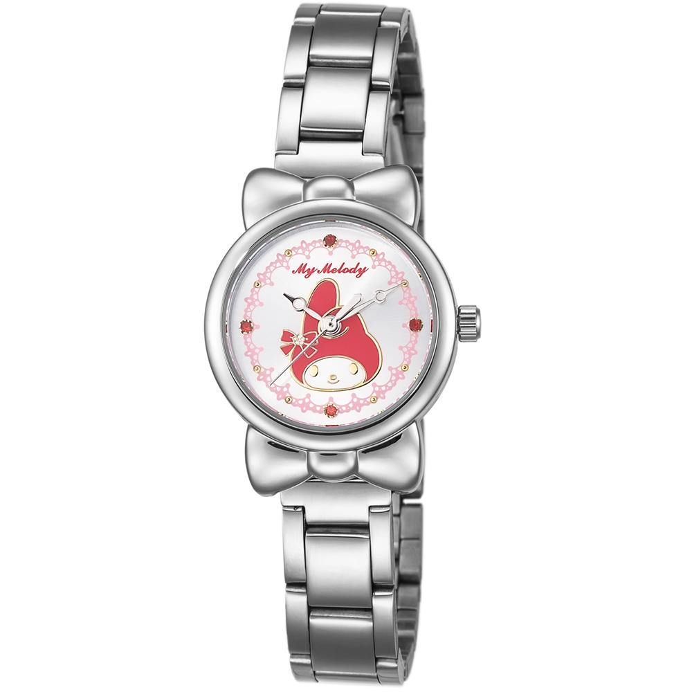 HELLO KITTY 美樂蒂可愛蝴蝶結俏皮手錶-白x紅/27mm