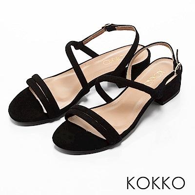 KOKKO -仲夏夜之夢曲線麂皮粗跟涼鞋-赫本黑