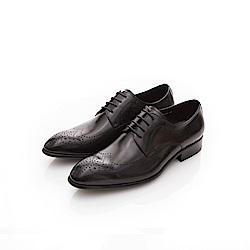 ALLEGREZZA-真皮男鞋-無可取代-精緻雕花尖頭皮鞋  黑色