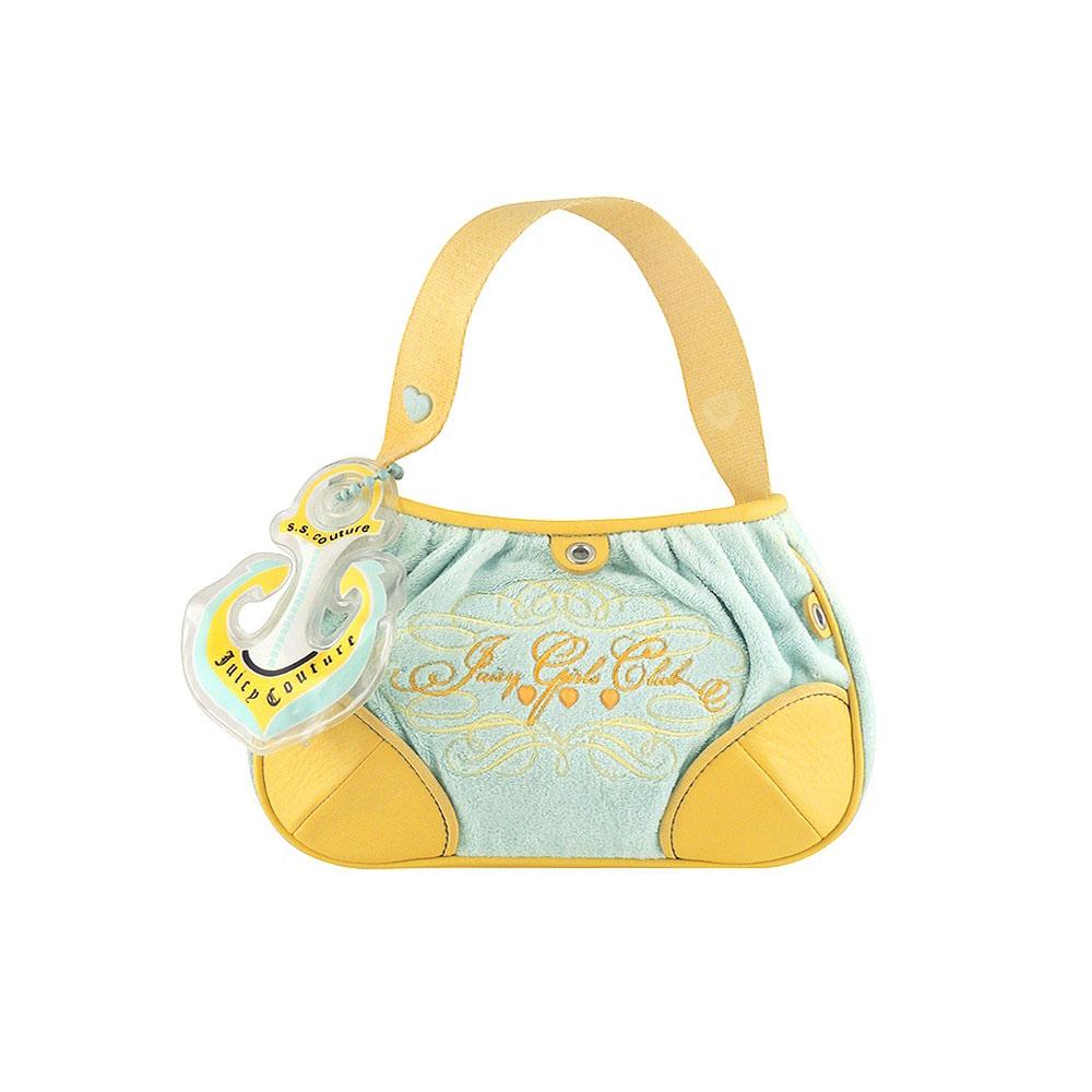 JUICY COUTURE 粉藍色法蘭絨皮革手提包