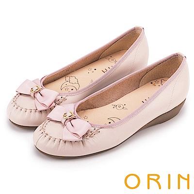 ORIN 甜美舒適 立體織帶蝴蝶結牛皮娃娃鞋-粉紅