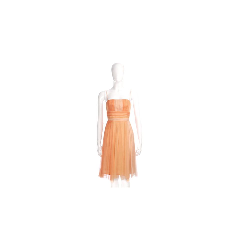 NINA 橘色漸層雪紡紗細肩帶洋裝