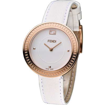 FENDI MY WAY 輕盈美學時尚腕錶-白x玫瑰金色/36mm