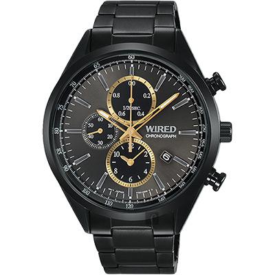 WIRED 關鍵時刻三眼計時腕錶(AY8016X1)-灰x鍍黑/41mm